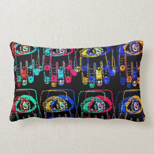 Pop Art Color Hamsa Pillow by Katie Pfeiffer