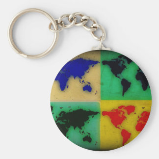 pop art color world map basic round button keychain