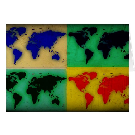 pop art color world map greeting card