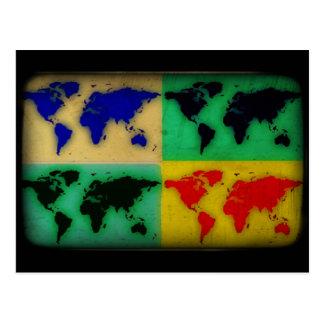 pop art color world map postcard