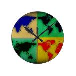 pop art color world map round clock