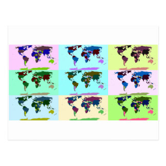 Pop Art Colored World Map Postcard