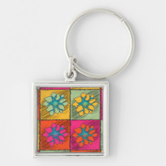 Pop art colorful orange yellow green pink flowers keychain
