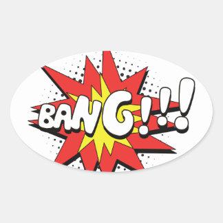 Pop Art Comic Bang! Oval Sticker