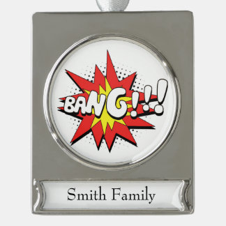 Pop Art Comic Bang! Silver Plated Banner Ornament