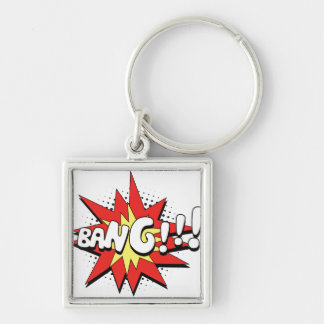 Pop Art Comic Bang! Silver-Colored Square Keychain