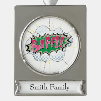 Pop Art Comic Biff! Silver Plated Banner Ornament