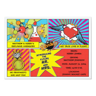 Pop Art Comic Book Engagement Party Invitation