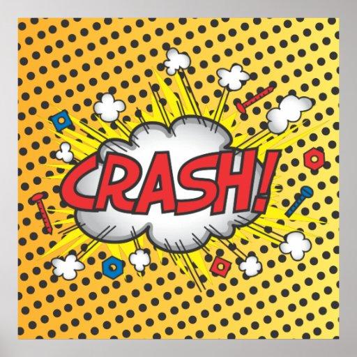 pop art comic book inspired crash poster zazzle. Black Bedroom Furniture Sets. Home Design Ideas