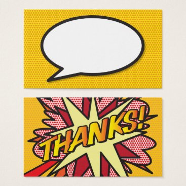 Pop Art Comic Book Speech Bubble Thanks Business Card