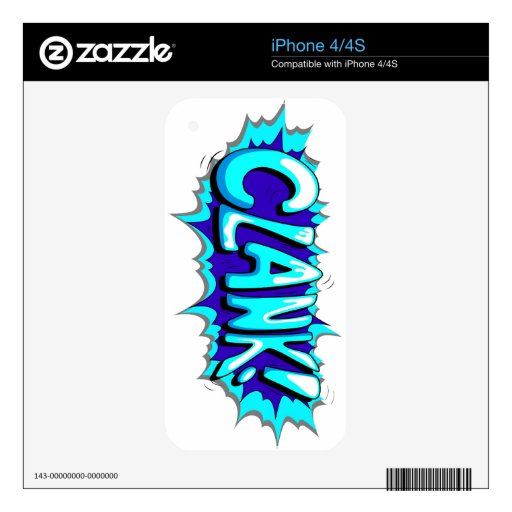 Pop Art Comic Clank! Decals For The iPhone 4