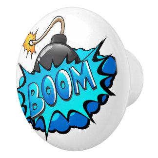 Pop Art Comic Style Bomb Boom! Ceramic Knob