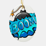 Pop Art Comic Style Bomb Boom! Ceramic Ornament