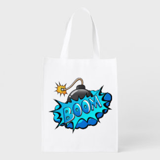 Pop Art Comic Style Bomb Boom! Grocery Bag