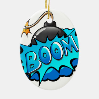 Pop Art Comic Style Bomb Boom! Double-Sided Oval Ceramic Christmas Ornament