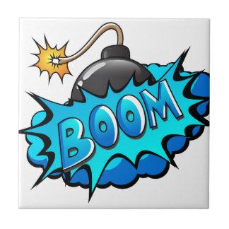 Pop Art Comic Style Bomb Boom! Tile