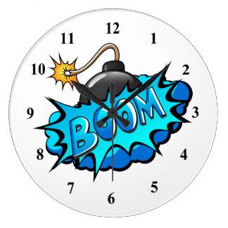 Pop Art Comic Style Bomb Boom! Wallclock