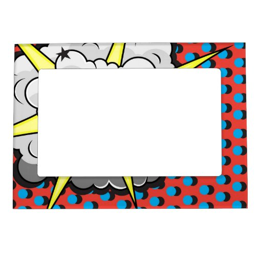 Pop Art Comic Style Explosion Magnetic Picture Frame | Zazzle