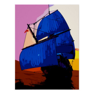 Pop Art Comic Style Sailing boat / ship Poster. Poster