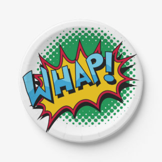 Pop Art Comic Style Whap! 7 Inch Paper Plate