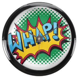 Pop Art Comic Style Whap! Aqua Clock