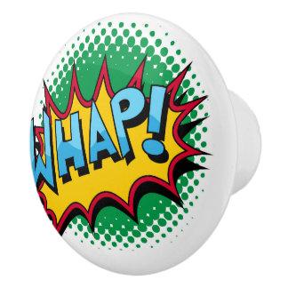 Pop Art Comic Style Whap! Ceramic Knob
