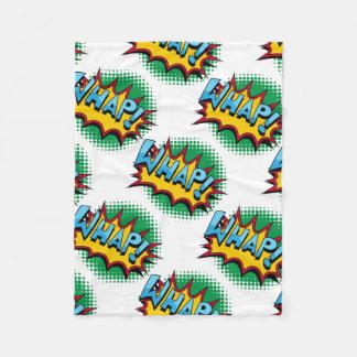 Pop Art Comic Style Whap! Fleece Blanket