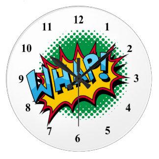 Pop Art Comic Style Whap! Large Clock