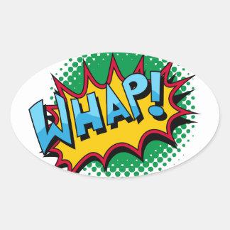 Pop Art Comic Style Whap! Oval Sticker