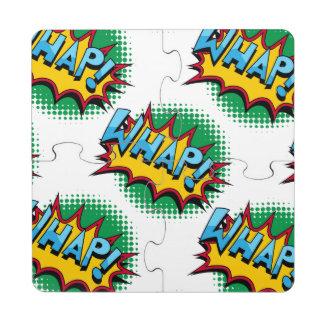 Pop Art Comic Style Whap! Puzzle Coaster