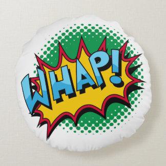 Pop Art Comic Style Whap! Round Pillow