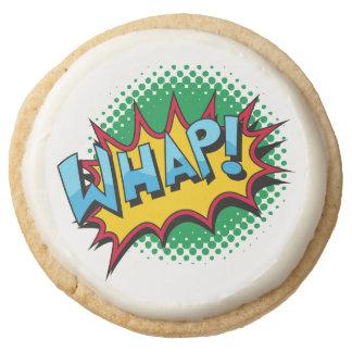 Pop Art Comic Style Whap! Round Shortbread Cookie