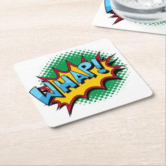 Pop Art Comic Style Whap! Square Paper Coaster