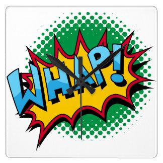 Pop Art Comic Style Whap! Square Wallclock