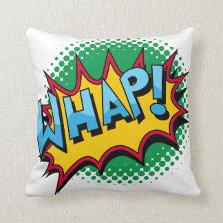 Pop Art Comic Style Whap! Throw Pillows
