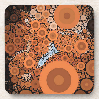 Pop Art Concentric Circles Floral Orange Coaster