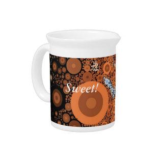 Pop Art Concentric Circles Floral Orange Pitcher