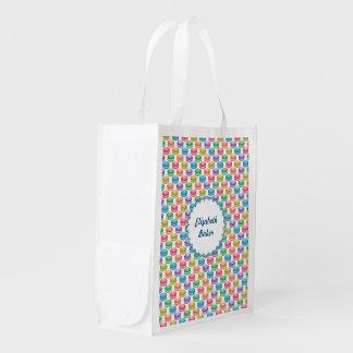 Pop Art Cookies Colorful Macarons Grocery Bags