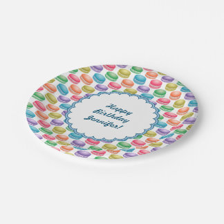 Pop Art Cookies Colorful Macarons Paper Plate