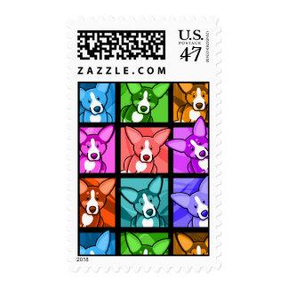 Pop Art Corgi Postage Stamp