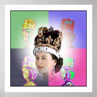 Pop Art coronation for Elizabeth II Poster