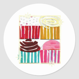 Pop Art Cupcakes Classic Round Sticker