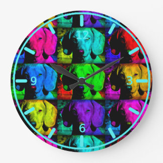 Pop Art Dachshund Doxie Sweet Face Soulful Eyes Large Clock