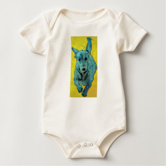 Pop Art Dachshund Running Grunge Baby Bodysuit