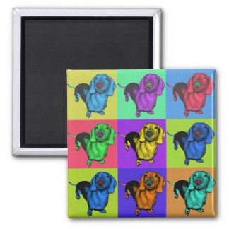 Pop Art Dachsund Doxie Panels Multi-Color Popart 2 Inch Square Magnet