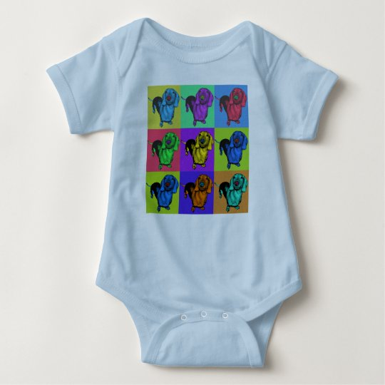 Pop Art Dachsund Doxie Panels Multi-Color Popart Baby Bodysuit