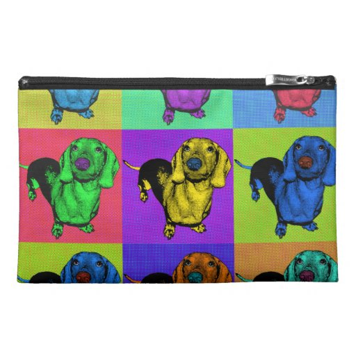 Pop Art Dachsund Doxie Panels Multi-Color Popart Travel Accessory Bag