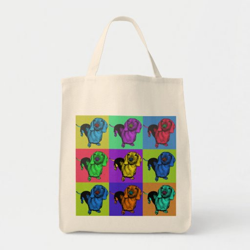 Pop Art Dachsund Doxie Panels Multi-Color Popart Bag