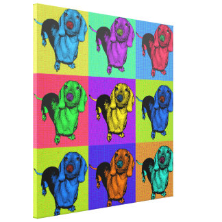 Pop Art Dachsund Doxie Panels Multi-Color Popart Canvas Print
