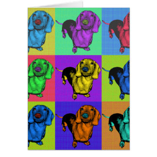 Pop Art Dachsund Doxie Panels Multi-Color Popart Greeting Card